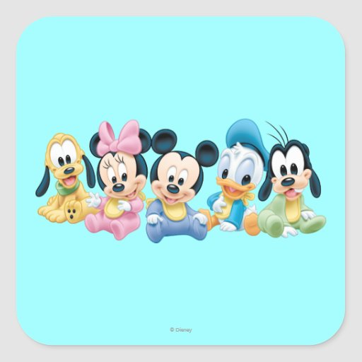 Baby Mickey Mouse and friends Square Stickers