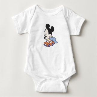 Baby Mickey Mouse playing with toy car Baby Bodysuit