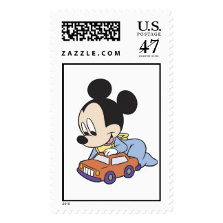 Baby Mickey Mouse playing with toy car Postage