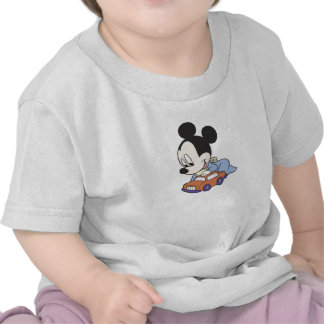 Baby Mickey Mouse playing with toy car T-shirt