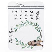 Baby Milestone Blanket Bear Wreath and Birch Trees