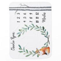 Baby Milestone Blanket Fox Wreath and Birch Trees