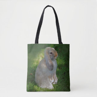 Baby Minilop Rabbit All Over Print Card Tote Bag