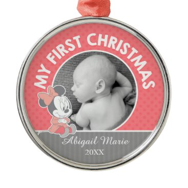 Disney Themed Baby Minnie | Baby's First Christmas Metal Ornament