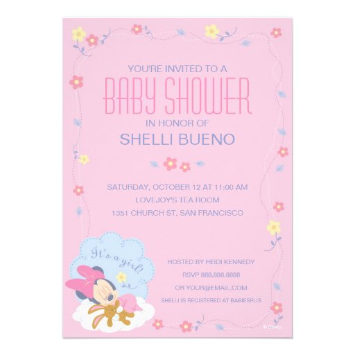 baby minnie mouse baby shower 5x7 paper invitation card zazzle