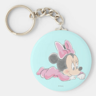 Baby Minnie Mouse | Pink Pajamas Basic Round Button Keychain
