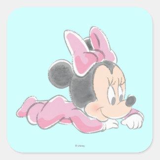 Baby Minnie Mouse   Pink Pajamas Square Sticker