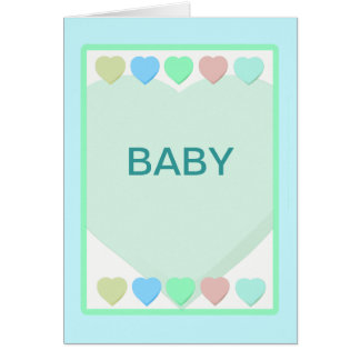 Baby Mint Hearts Greeting Card