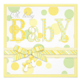 Baby Mint Yellow Dots Baby Shower Personalized Invitations