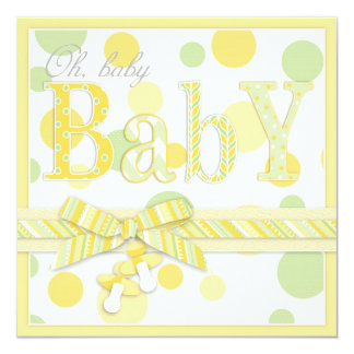 Baby Mint Yellow Dots Baby Shower 5.25x5.25 Square Paper Invitation Card