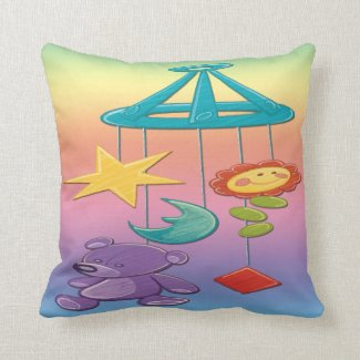 Baby Mobile Throw Pillow
