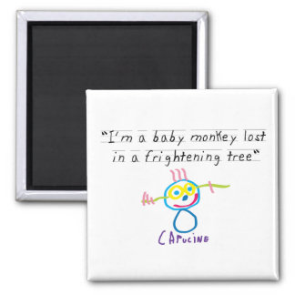 Baby monkey 2 inch square magnet