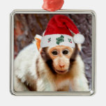 Baby Monkey at Christmas Square Metal Christmas Ornament