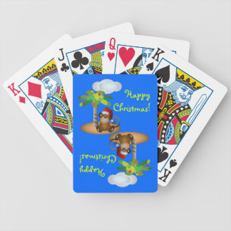 Baby Monkey Christmas Bicycle Playing Cards