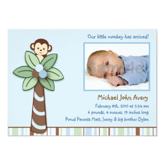 Baby Monkey Custom Photo Birth Announcements