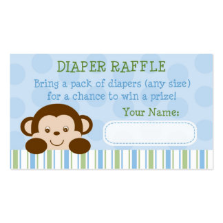 Baby Monkey Diaper Raffle Tickets Double-Sided Standard Business Cards (Pack Of 100)