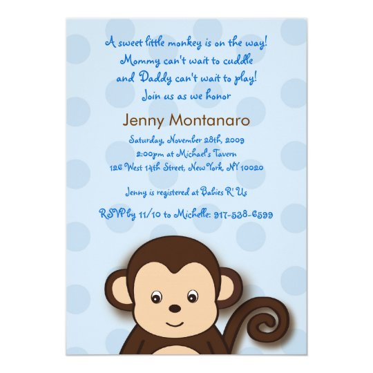 Baby Monkey Dots Custom Baby Shower Invitations