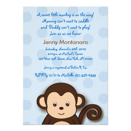 baby monkey dots custom baby shower invitations 5 x 7 invitation