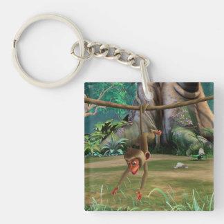 Baby Monkey Double-Sided Square Acrylic Keychain