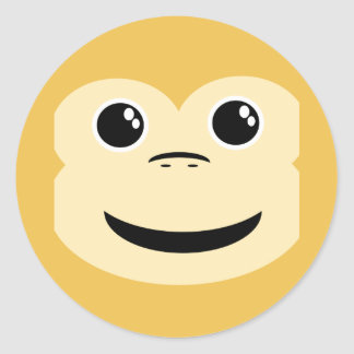 Baby Monkey Face Classic Round Sticker