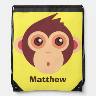 Baby Monkey Face Drawstring Backpack