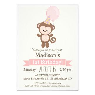 Baby Monkey Girl's Birthday Party Invitation