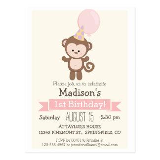 Baby Monkey Girl's Birthday Party Invitation Postcard