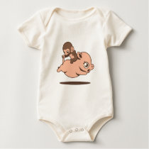 Baby Monkey (Going Backwards on a Pig) Baby Bodysuit