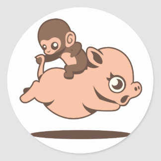 Baby Monkey (Going Backwards on a Pig) Classic Round Sticker