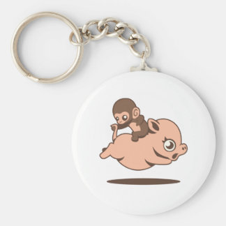 Baby Monkey (Going Backwards on a Pig) Keychain