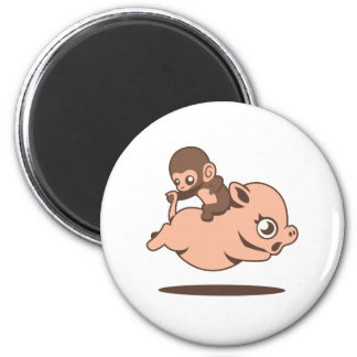 Baby Monkey (Going Backwards on a Pig) Magnet