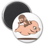 Baby Monkey (Going Backwards on a Pig) Fridge Magnet