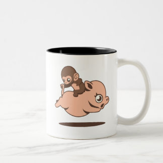 Baby Monkey Going Backwards on a Pig Mug