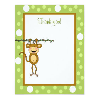 """Baby Monkey"" Hanging Around Thank you note Card"