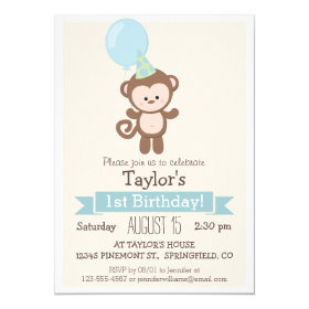 Baby Monkey Kid's Birthday Party Invitation 5