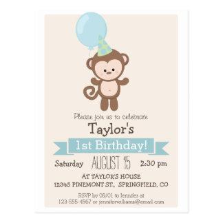 Baby Monkey Kid's Birthday Party Invitation Postcard