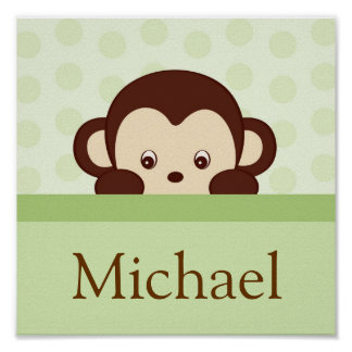 Baby Monkey Personalized Name Art Print