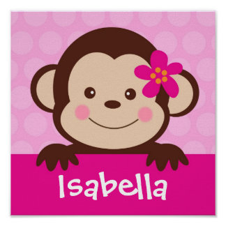 Baby Monkey Personalized Name Art Print Girls