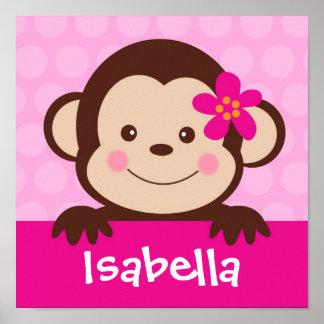 Baby Monkey Personalized Name Art Print Girls