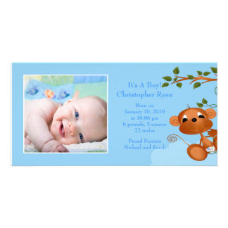 Baby Monkey PHOTO  Boy Birth Announcement Photo Card