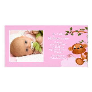 Baby Monkey PHOTO  Girls Birth Announcement Photo Card