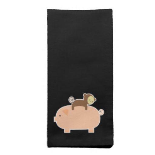 Baby Monkey Riding a Pig Cloth Napkin