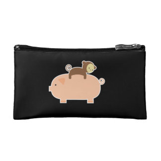 Baby Monkey Riding Backwards on a Pig Makeup Bag