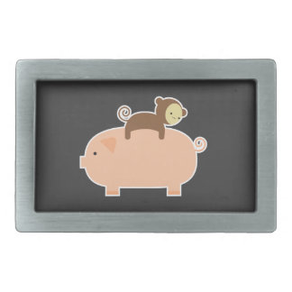 Baby Monkey Riding Backwards on a Pig Belt Buckle