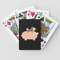 Baby Monkey Riding Backwards on a Pig Bicycle Playing Cards