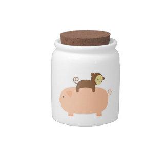 Baby Monkey Riding Backwards on a Pig Candy Dish