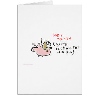 Baby Monkey (riding backwards on a pig) Card