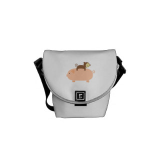Baby Monkey Riding Backwards on a Pig Courier Bag