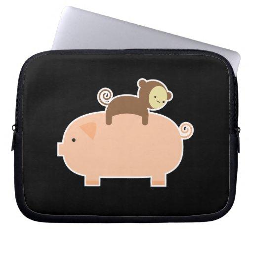 Baby Monkey Riding Backwards on a Pig Laptop Sleeves