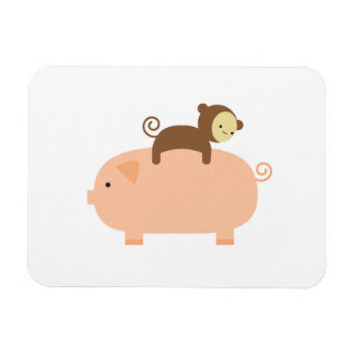 Baby Monkey Riding Backwards on a Pig Magnet